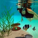 Récif corallien, piscine et réalité augmentée